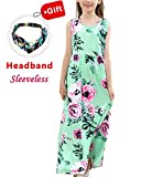 CHARMCZ Girls Dresses Floral Maxi Dress Short Sleeve Casual Pocket Sundress with Headband for 3-12