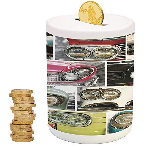 1960s Decorations,Kids Boys and Girls Money Bank,for Party Decor Girls Kid's Children Adults Birthday Gifts,Classic Cars Retro Automobile Collage Bumper and Headlights Classic Old Style City Vehicle -