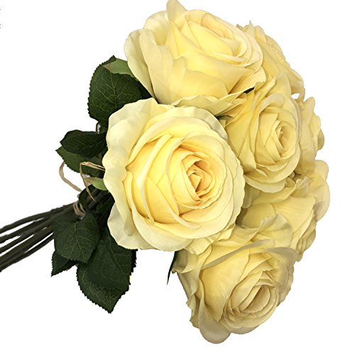 DALAMODA Artificial Silk Big Heads OPEN ROSE Flower  DIY Wedding Bridal Bouquet flower 27
