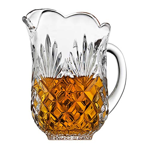Elegant Crystal Clear Pitcher, With Beautiful Pineapple Pattern, With Spout and Handle, Ideal for Water, Ice Tea, Juice, Fruit Punch and Beverages, Jug Hold 46 oz (Crystal Lid Water Pitcher With)