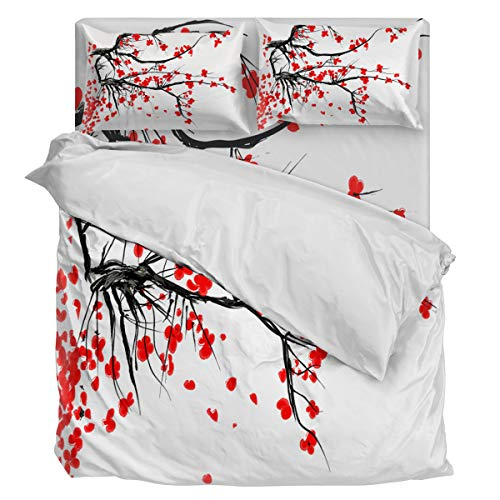 Twill Plum - Aiesther Bedding Set Duvet Cover 4 Piece Chinese Style Spring Plum Blosssom Soft Twill Plush Quilt Cover, Include 1 Duvet Cover 1 Flat Sheet and Pillow, for Adults Children Boys Girls Full