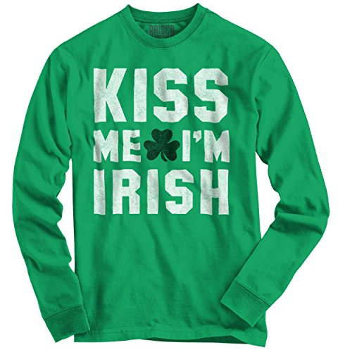 Kiss Me Im Irish Funny Quote Fun Gift Ideas St Patricks Day Long Sleeve T-Shirt (St Pats T Shirts)