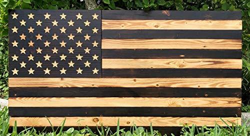 - Rustic Burnt American Wood Flag | USA | Wall Art | Handmade | Each Star Carved by Hand | 36