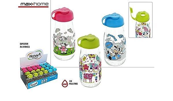Lote de 24 Botellas de Cristal Leche Decoradas 250 ML Milky - Botellas, Termos, Cantimploras de Cristal decoradas, para líquidos y leche originales ...