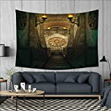 smallbeefly Arrow Wall Hanging Tapestries Medieval Passage with Torch and Golden Clock on Wall Mystery in Temple Print Large tablecloths 84''x54'' Beige Emerald
