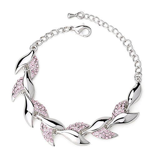 Crystal Cross Toggle Bracelet - Winter's Secret Beauty Crystal Willow Leaves Diamond Accented Link Silver Girls Charming Bracelet Pink