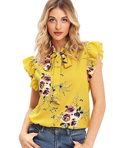 Romwe Women's Floral Bow Tie Neck Short Sleeve Ruffle Trim Blouse Shirts Tops Yellow ()