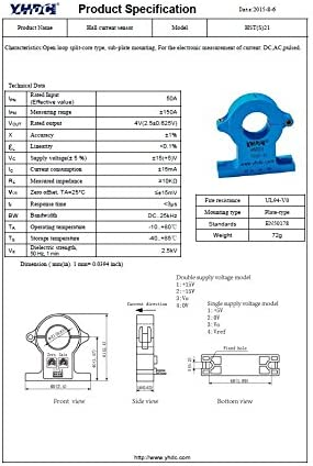 YHDC Sensores de corriente de Efecto Hall HST S 21 50A//2.5/±0.625V
