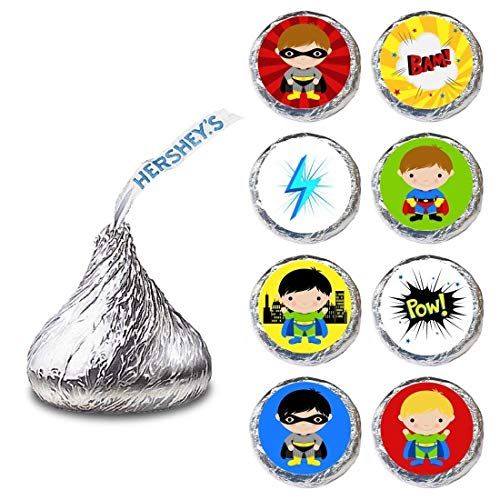 (Superhero Boy Label for HERSHEY'S KISSES® chocolates - Birthday Party Candy Stickers - Set of)