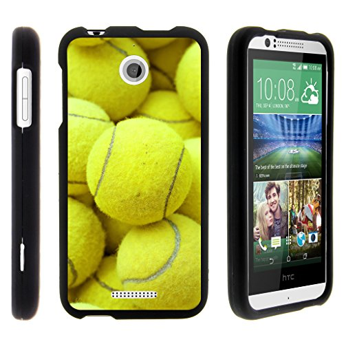 Compatible with HTC Desire 510 Case [Slim Duo] Fitted 2 Piece Hard Snap On Case Rubberized Coating on Black Sports and Games by TurtleArmor - Tennis Balls (Virgin Mobile Htc Desire 4g)