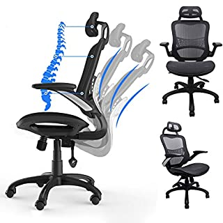 Komene Ergonomic Office Desk Chair - Breathable High Back Mesh Office Chair - Hold Up 300IBS - BIFMA/SGS Tested, with Adjustable Headrest/Backrest/Armrests/Seat - for Man/Woman Working in Home