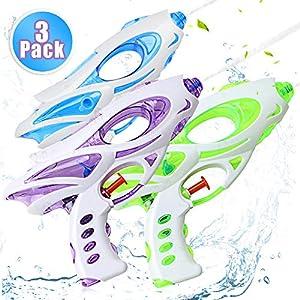 Zaloife Pistole ad Acqua, 3 Pack Water Squirt Gun per Water Fight, Super Water Pistol Guns per Bambini Adulti, Spiaggia Piscina Estivi All'aperto per Divertimento 19 spesavip