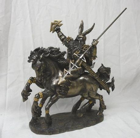 Odin Statue Figurine Bronze Finish