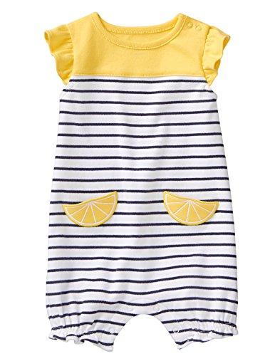 Gymboree Baby Girl Short Sleeve One-Piece Romper, Lemon Yellow Stripes, 0-3 mo ()