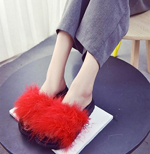 Sagton® Mujer Slipper Chic Fluffy Fur Fur Sandalias Planas Casual Interior Exterior Flip Flop Shhoes Rojo