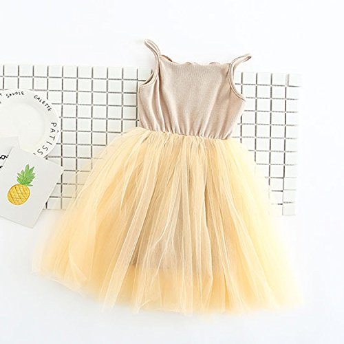 New Baby Girls Sling Ball Dresses Knit Cotton Mesh Vest Ballet Girl Party Vestidos 2-9Years DQ360,Yellow,5