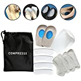 12 Pieces Heel Pads Set - Heel Grips, Heel Inserts, Gel Heel Cups, Heel Cushion Insole by COMPRESSX - Bone Spurs Pain Relief / Plantar Fasciitis Orthotics for Bruised Feet, High Heels Blisters