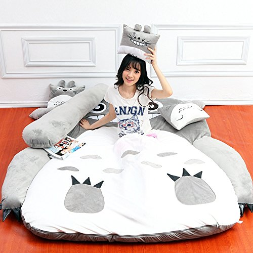 Plush Totoro Sleeping Bag Sofa Bed Double Foam Beanbag Cartoon Mattress Cushion for Kids Tatami Bed Xmas Gift
