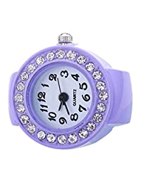 Gilroy Women Quartz Round Elastic Band Silicon Rhinestone Finger Ring Watch - Purple