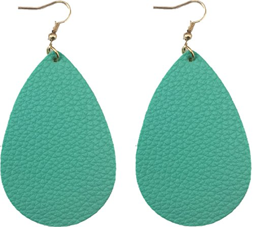 [2 Pairs Pack] Teardrop Leather Earrings, Leaf Drop Antique Looking, Soft and Light (MInt Green) - Silver Green Leather