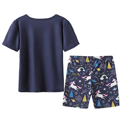 MyFav Big Girls' Summer Pajama Sets Cute Horse Sleepwears Cartoon Children PJS by MyFav (Image #2)