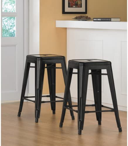 Tabouret 24-inch Black Metal Counter Stools Set of 2