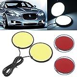 2x-12V-70mm-28-100-LED-COB-Car-DRL-Daytime-Running-Light-Fog-Lamp-Round-White