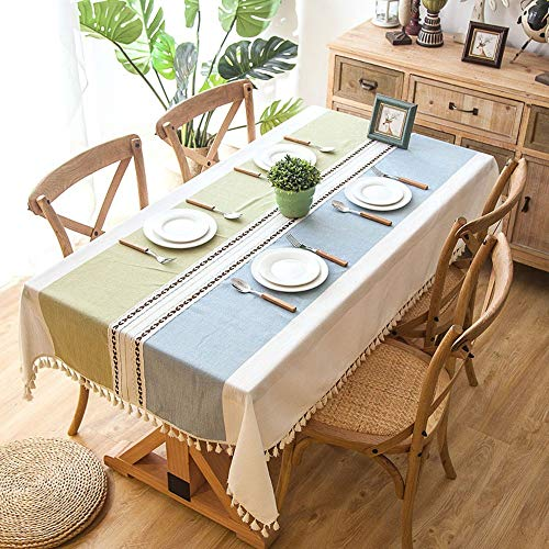 Plaid Decorative Linen Tablecloth with Tassel Waterproof Oilproof