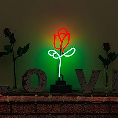 Indoor Glass tube Neon Signs with on/off switch base, A4 Size, Business Signs with Rose Sculpture - Nails Logo Led Sign