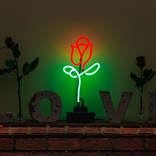 Indoor Glass tube Neon Signs with on/off switch base, A4 Size, Business Signs with Rose Sculpture (Indoor Neon Sign)