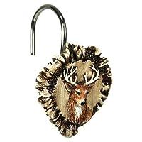 River's Edge Products - Juego de ganchos para cortina de ducha de asta y ciervo