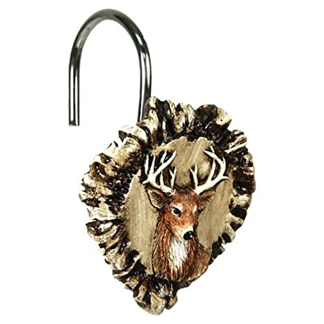 Rivers Edge Products Antler And Deer Shower Curtain Hook Set