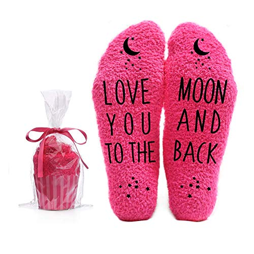 Love You to the Moon and Back Funny Socks - Cool Pink Fuzzy Novelty Cupcake Packaging for Her - Gift Idea for Mom, Wife, Sister, Friend, Aunt or Grandma - Birthday, Christmas, Anniversary - 1 Pair (Good Best Friend Christmas Gift Ideas)