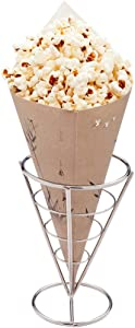 Conetek 11.5-Inch Eco-Friendly Finger Food Cones: Perfect for Appetizers - Food-Safe Paper Cone with Bamboo Print Styling - Disposable and Recyclable - 100-CT - Restaurantware