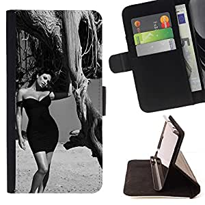 Momo Phone Case / Flip Funda de Cuero Case Cover - B & W Elegante Morena;;;;;;;; - Sony Xperia M2