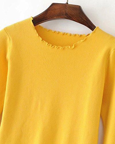 Mujeres Casual Redondo Cuello Pullover Suéter Suelto Manga Larga Jerséy Para Señoras Amarillo