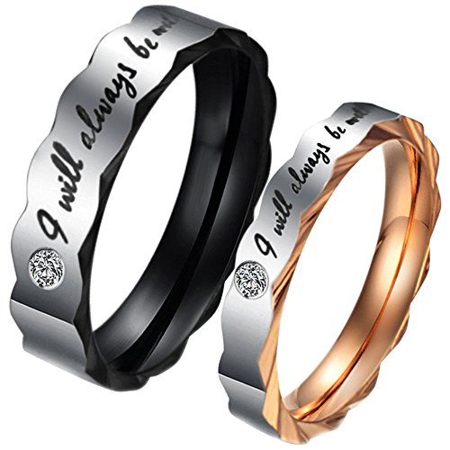 Mens Womens Stainless Steel Love I Will Always Be with You Cz Couples Promise Ring Wedding Bands