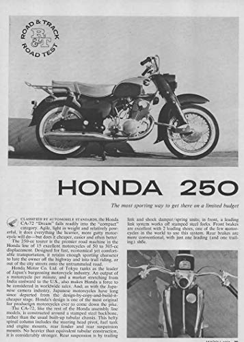 (Magazine Print Article: 1961 Honda CA-72 Dream 250 Motorcycle Motorbike, Road Test Results, Specifications, Performance, from Road & Track Magazine,