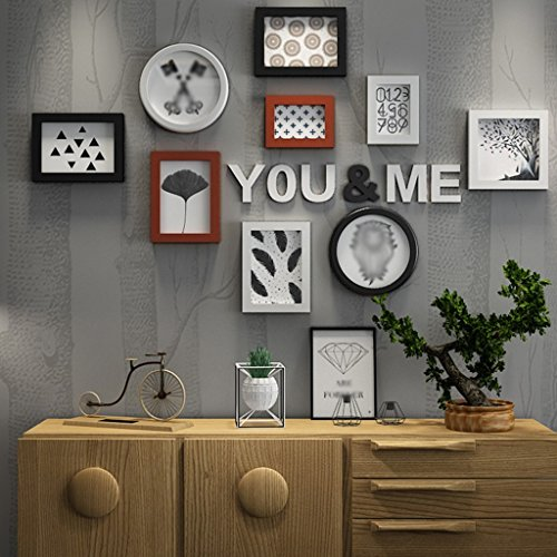 Frame Creative Photo Wall, Modern Simple Living Room Decorative Painting Large Photo Frame Wood Letter Hanging Wall Photo Frame Combination Photo Wall Home Decoration ( Color : B ) by LI LU SHOP