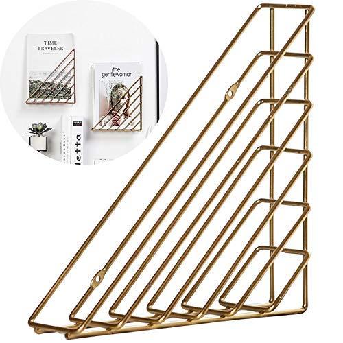 AnLeKING 1 Pack Hanging Wall Easel Display Stand Tabletop Book Holder,Desktop Triangular Wire Metal Magazine,Newspaper,Book & File Sorter Gold - Newspaper Display Holder