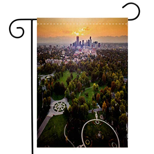 BEIVIVI Custom Double Sided Seasonal Garden Flag Sunset Over Denver Cityscape Aerial View from The Park Welcome House Flag for Patio Lawn Outdoor Home Decor