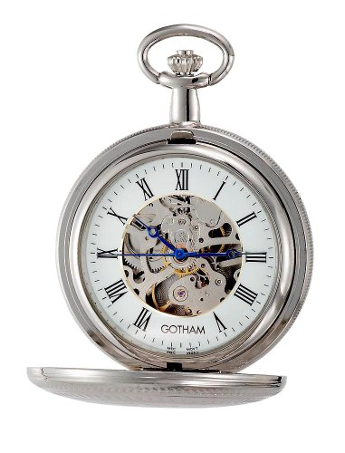 Gotham Men's Silver-Tone 17 Jewel Mechanical Double Cover Pocket Watch # GWC14051S ()