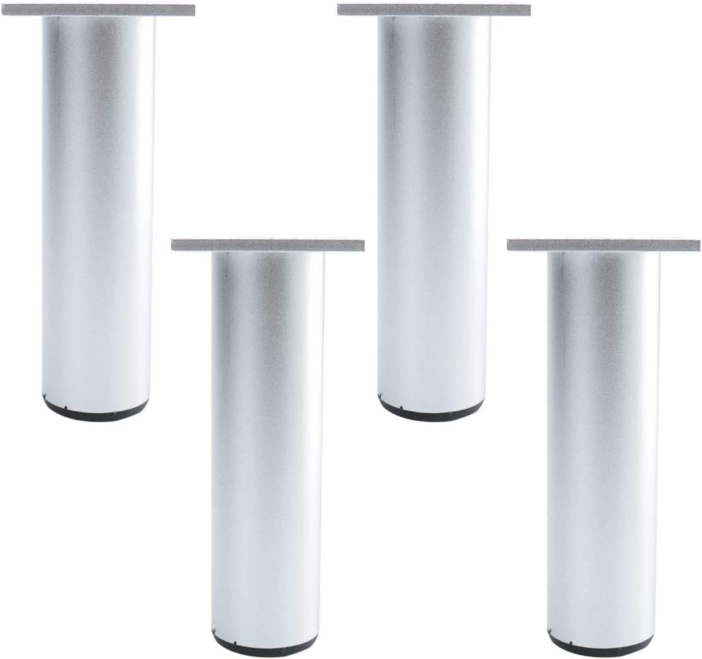 uxcell 7 Inch Round Furniture Legs Aluminium Alloy Sofa Couch Table Cabinet Wardrobe Worktop Shelves Feet Replacement Height Adjuster Set of 4