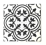 #7: 8x8 Flora Black White Porcelain Tile By Squarefeet Depot (10pcs)
