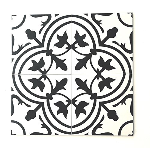 8x8 Flora Black White Porcelain Tile by Squarefeet Depot (Spanish Colonial Tile)