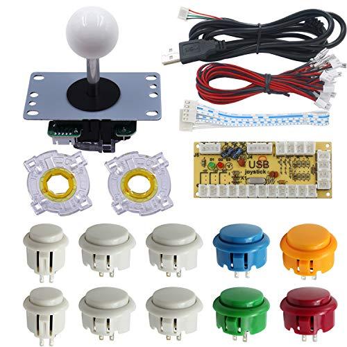 Kit Arcade Joystick - Botones Colores - pomo blanco