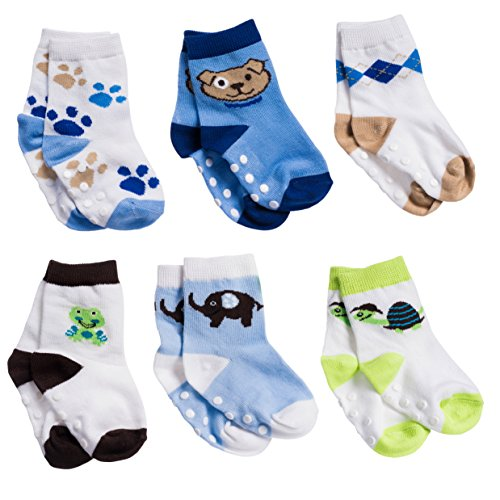Silky Toes Non-Skid Newborn Baby Socks Gift Set (18-24M, Blue Animal Print (6 Pairs))