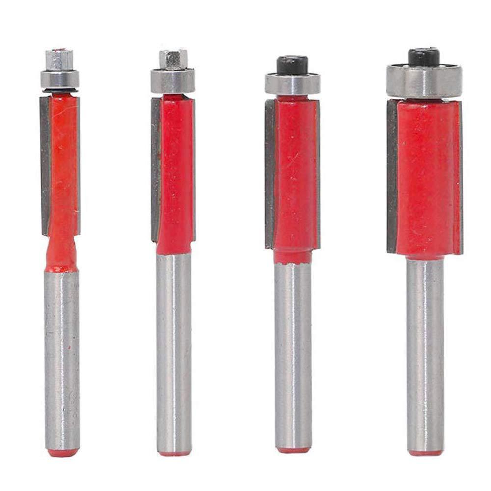 Bestgle Set of 4 Top Bearing Flush Trim Router Bit Set 1/4'' 5/16'' 3/8'' 1/2'' Cutting Diameter Carpenter Woodworking Tools, 1/4 Inch Shank