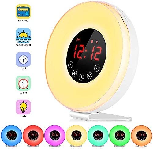 FKANT Wake Up Light, Nature Light Sunrise Simulation Alarm Clock, Snooze Function 7 Colors Atmosphere Lamp, 6 Natural Sounds and FM Radio for Kids Adults Bedrooms 6639