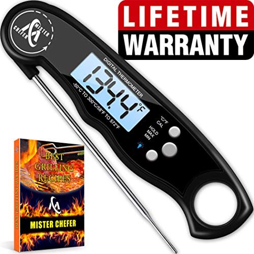 Instant Read Thermometer Best Waterproof Digital Meat Thermometer with Backlight and Calibration functions Food Thermometer for Outdoor and Kitchen Cooking ()